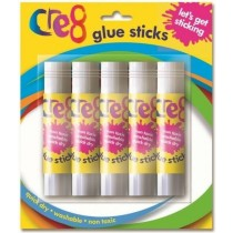 Cre8 Lets Get Sticking Children Arts & Crafts Glue Sticks - 10g - Pack of 5