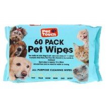 Pet Touch All Purpose Pet Cleaning Wipes - 15 x 20cm - Pack of 60 - Exp: 10/24