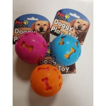PET TOUCH SQUEAKY DOGGY PLAY TOY BALL - COLOURS MAY VARY - 7.5cm x 7.5cm
