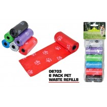 Pets That Play Dog Friendly Waste Bag Refills - Assorted Colours - Pack of 6