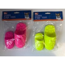 Squeaky Doggy Play Toy Slippers - Assorted Colours - Pack Of 2