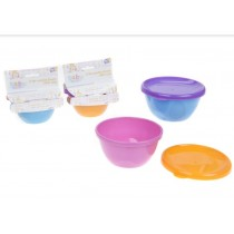 Baby First Re-Usable Bowls with Lids - Assorted Colours - 236ml - Pack of 2
