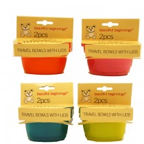 Travel Bowls With Lids - Assorted Colours - Pack Of 2