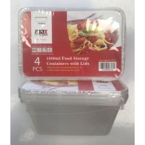 Max Disposable Food Storage Containers with Lids - 1000ml - 17.5 x 11.5 x 7.5cm - Pack of 4