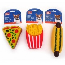 Pet Touch Squeaky Fast Food Doggy Play Toy - 18cm x 11cm - Assorted Colours