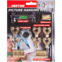 Dekton Picture Hanging Kit with Nails, Hooks, Levels and Wire
