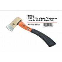 JAK Heavy Duty Hand Axe with Fibreglass Handle, Rubber Grip & Safety Rubber Cap - 1.5 lb