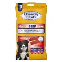 One-A-Day Premium Quality Marrow Beef Sticks for Medium Dogs - 200g - Pack of 10 - Exp: 06/2022
