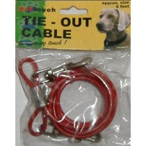 Pet Touch - Tie-Out Cable - 6 Feet - 3 Assorted Colours - Colours May Vary