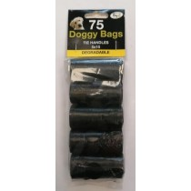 TidyZ Degradable Doggy Bags with Tie Handles - 22 x 37cm - Pack of 75