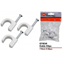 JAK Plastic Cable Clips - 14mm - Pack of 20