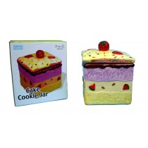 Square Cake Cookie Jar With Lid -  Approximate Size: 14Cm X 14Cm