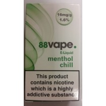 88 Vape E Liquid - Menthol Chill - 16Mg - 10Ml