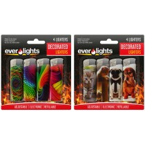 Decorated Refillable Lighters - Designs May Vary - Pack of 4
