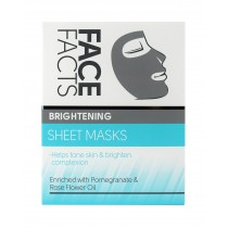 Face Facts Brightening Sheet Masks with Pomegranate & Rose Flower Oil - Vegan - Pack of 2