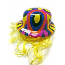 Multi Coloured Bowler Hat With Hair Extensions - Colours And Designs May Vary