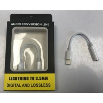 iPhone Lightning to 3.5mm Headphone Jack Adapter - Audio Conversion Line - White