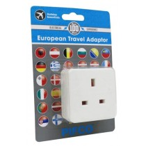 European Continental Travel Adaptor Uk To Europe 10A - 240V - Carded
