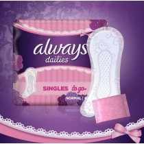 Always Dailies Singles To Go Pantiliners - Normal - Pack of 20