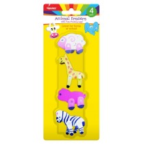 ANIMAL ERASERS - ASSORTED ANIMAL SHAPES - PACK OF 4