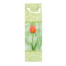 Bottle Gift Bag - Floral - Apple Green - Designs May Vary Slightly