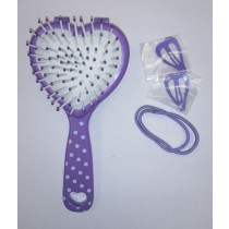 NBC Pree-Teens Hairbrush with Mirror, Hairband and Clip - Purple
