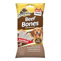 Pure Breed Daily Treats Jumbo Beef Bones for All Dogs - Pack of 2 - 200g