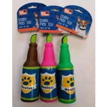 Pet Touch Squeaky Beer Bottle Doggy Play Toy - 19cm x 5cm - Assorted Colours