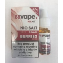 88 Vape Nic Hit E Liquid with Nic Salt - Berries - 50/50 Pg/Vg - 20Mg -10Ml