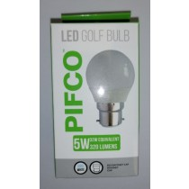 Pifco LED Golf Bulb - B22 Bayonet Cap - Cool White - 5W - 320 Lumens