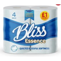 Bliss Luxury Scents Quilted Toilet Tissue Roll - 2 Ply - Pack Of 4 - Blue - Sapphire Oud - Price Marked £1