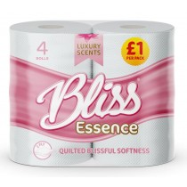 Bliss Luxury Scents Quilted Toilet Tissue Roll - 2 Ply - Pack Of 4 - Pink - Price Marked £1