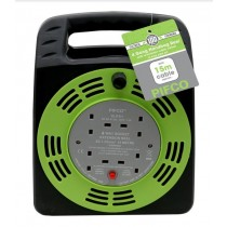 Pifco 4 Way/Gang Handbag Reel with Re-Settable Safety Cutout - 15 Metres