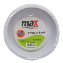 "Heavy Duty Plastic Disposable Bowl - White - 5"" - Pack of 25"
