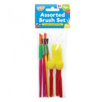 Creator Zone Assorted Paint Brush Set with Sponge Brushes - Pack of 9- For Ages 3+