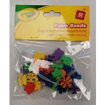 Crayola Foam Beads - Bugs & Butterflies - Assorted Colours & Shapes - Pack of 32 Pieces