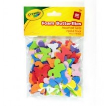 Crayola Peel & Stick Foam Butterflies - Assorted Colours & Sizes - For Ages 3+ - Pack of 80