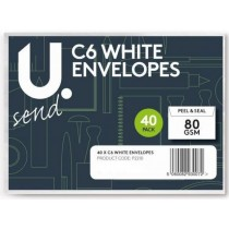 U Send C6 Peal & Seal Envelopes - White - 80GSM - 16 x 11.5cm - Pack Of 40