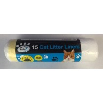Extra Strong Cat Litter Tray Liners With Drawstrings - Roll of 15 - 70 x 45cm