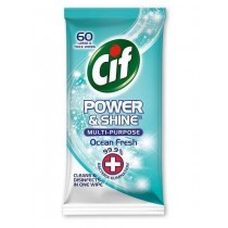 Cif Power & Shine Multi-Purpose Large & thick Wipes - Ocean Fresh - Pack of 60 - Exp: 06/23