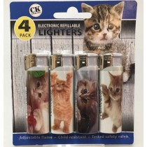 CK Everyday Electronic Refillable Lighters - Cat - Assorted Cat Pictures - Pack of 4
