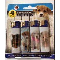 CK Everyday Electronic Refillable Lighters - Dog - Assorted Dog Pictures - Pack of 4