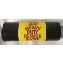 Quality Strong Extra Heavy Duty Refuse Sacks - Black Bin Bags - Roll Of 20 - 18 X 29 X 34 Inches