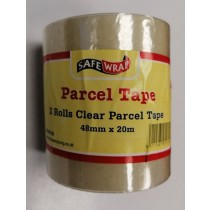 Safe Wrap Parcel Tape - Clear - 48mm x 20m - Pack of 2