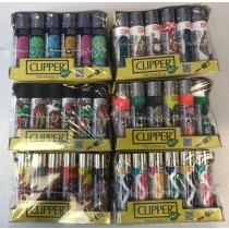 Clipper Classic Large Flint Reusable Lighters - Designs/Colours Vary - Pack of 24
