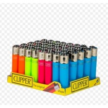 Clipper Classic Large Reusable Lighters - Neon - Fluorescent - Assorted Colours & Designs