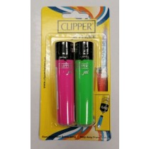 Clipper Jet Flame Refillable Lighters - Colours May Vary - Pack of 2