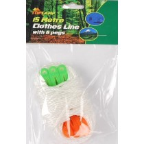 CLOTHES LINE WITH 6 PEGS FOR CAMPING - 15 METRES