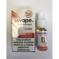 88 Vape Any Tank E Liquid - Cola - 50/50 Pg/Vg - 6Mg - 10Ml