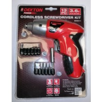 Dekton Power Cordless Screwdriver Kit with Mains Adaptor, Bits and Bit Holder - Pack of 13